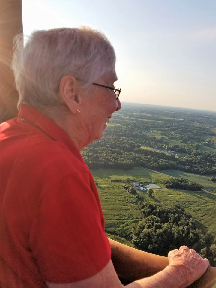 Sister Pat Wilson enjoyng the view from her hot air ballon ride