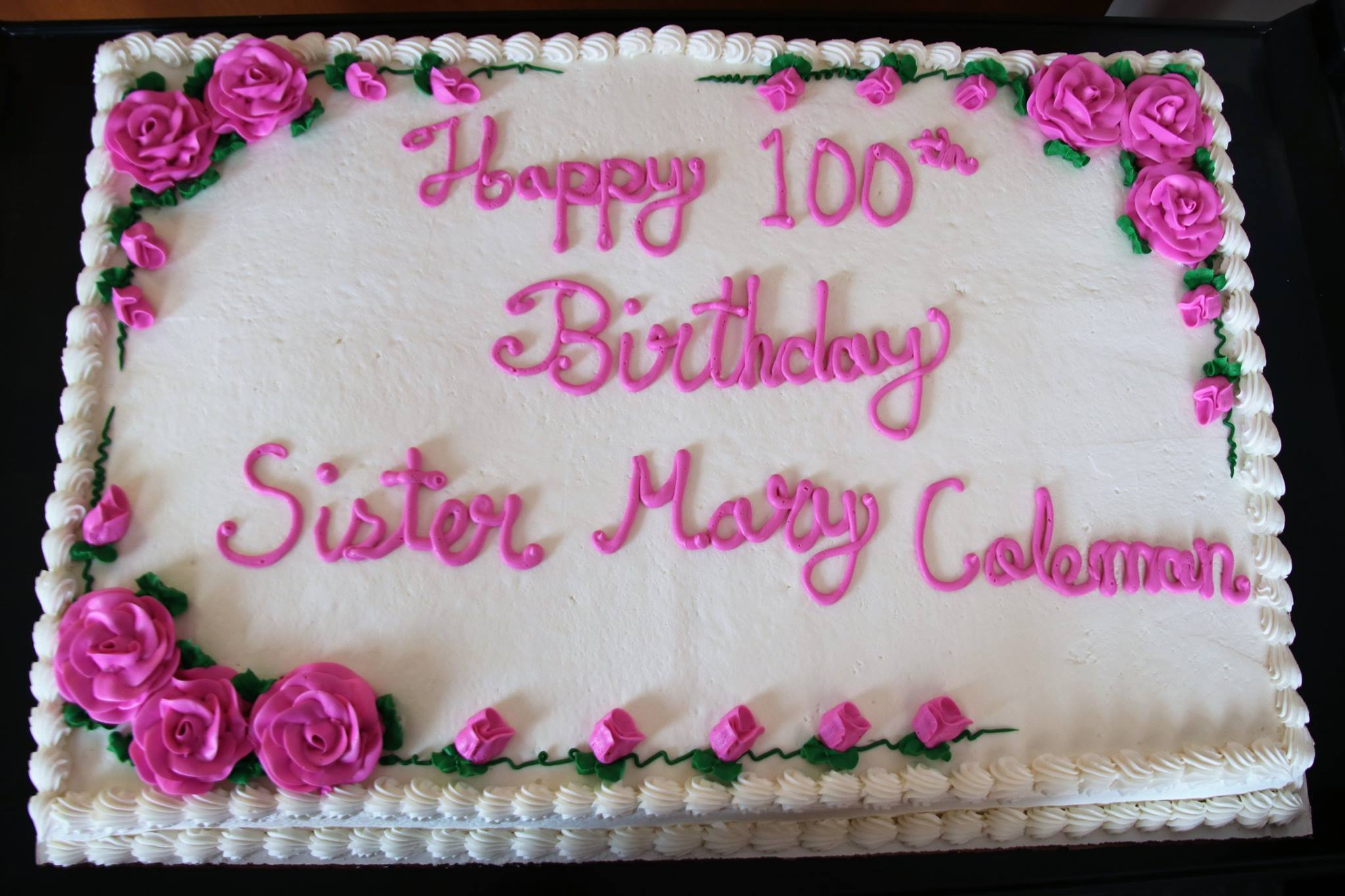 Sr Mary Coleman 100th Birthday Cake