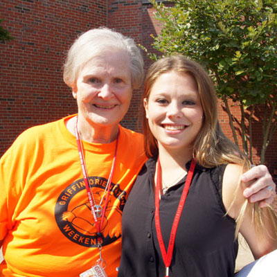 Sr. Maureen O'Brien with a Seton Hill University student