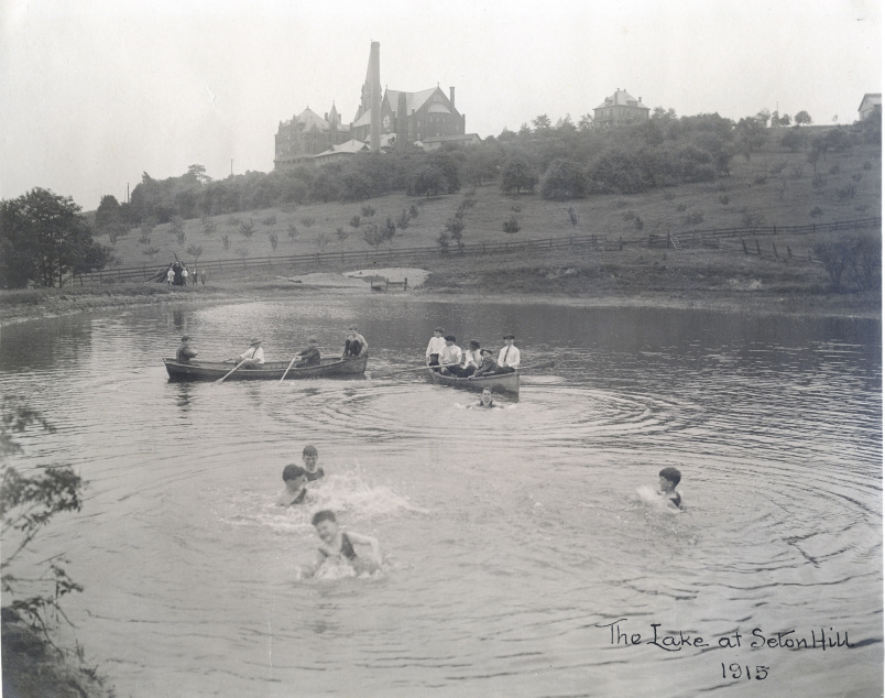 The St. Mary's students swim and canoe in the Lake at Seton Hill