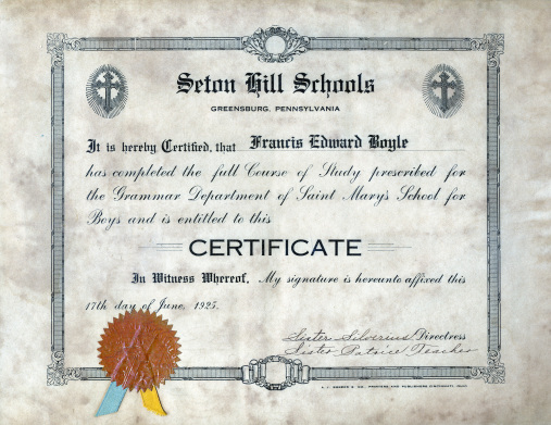 Grammar Certificate from St. Mary's School for Boys