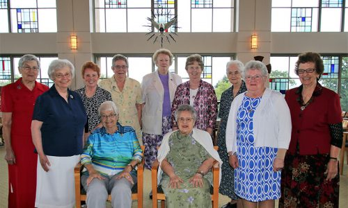 Seated:  Sisters Anita Schulte and Brenda Jumba Standing:  Sisters Annette Frey, Claudia Stehle, Judith Laffey, Vivien Linkhauer, Jon Frances Vallade, Eileen Johnston, Claudia Rushlow, Kathleen McGrady and Geraldine Frances Marr