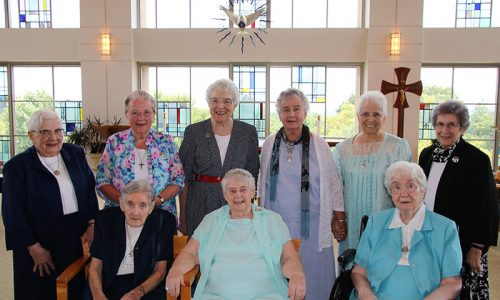 Seated:  Sisters Nora Marie Diggin, Joann Boyle, M. Bernadette Del Duca Standing: Sisters Mary Agnes Kirsch, Nancy Jane Gerken, Jean Augustine, Carol Dougherty, Maria Consuelo Pacheco, and Beatrice Ann Parenti