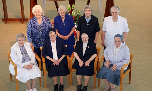 Seated: Sisters Lois Johnston, Miriam Richard Soisson, Mary Michael Burns, and Marian Joseph Adams Standing: Sister Mary Noël Kernan, Antoinette Bosco, Anne Flynn, and Alice Ruane